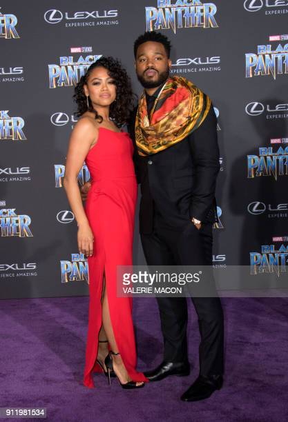 Writer/director Ryan Coogler and Zinzi Evans attend the world premiere of Marvel Studios Black Panther, on January 29 in Hollywood, California. / AFP...