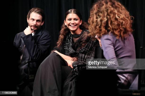 Writer/director Sam Levinson actress/singer Zendaya and moderator Elaine Welteroth speak onstage at the New York screening of HBO's Euphoria on June...