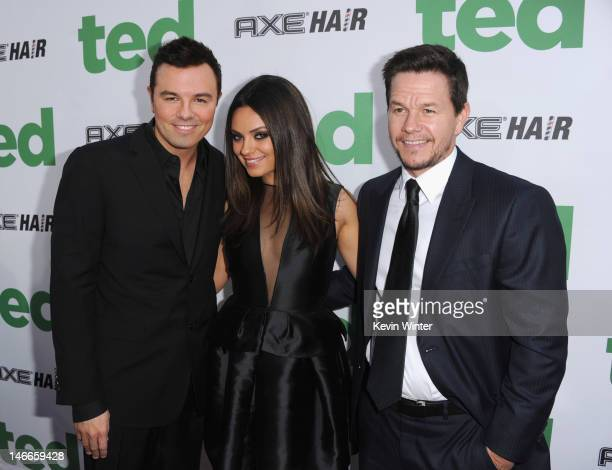 Writer/director Seth MacFarlane actors Mila Kunis and Mark Wahlberg arrive at the Premiere of Universal Pictures' 'Ted' sponsored in part by AXE Hair...