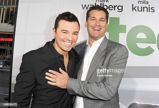 Writer/director Seth MacFarlane and producer Scott Stuber arrive at the Premiere of Universal Pictures' Ted sponsored in part by AXE Hair at...