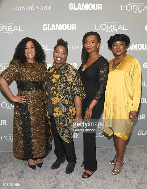 Writer/director Shonda Rhimes and honorees Patrisse Cullors Opal Tometi and Alicia Garza attend Glamour Women Of The Year 2016 at NeueHouse Hollywood...