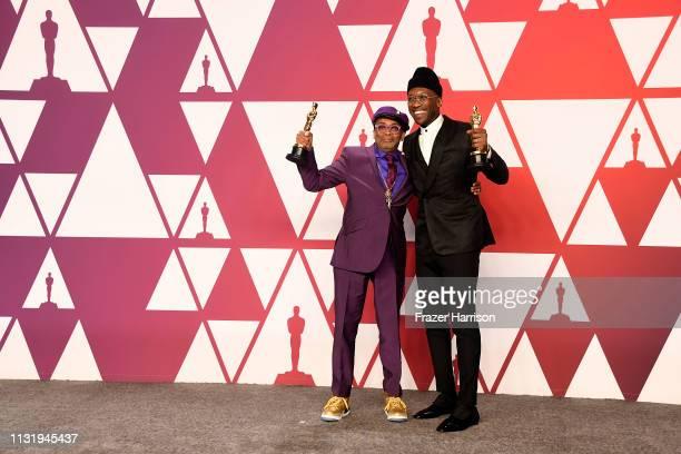 Writerdirector Spike Lee winner of Best Adapted Screenplay for BlacKkKlansman and Mahershala Ali winner of Best Supporting Actor for Green Book pose...