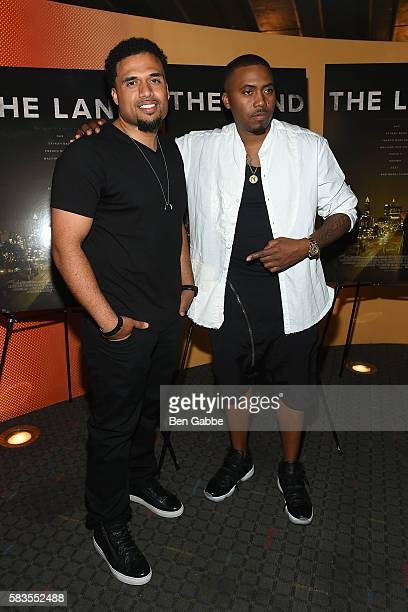 Writer/director Steven Caple Jr and hiphop artist Nasir 'Nas' Jones attend 'The Land' New York Premiere at SVA Theater on July 26 2016 in New York...