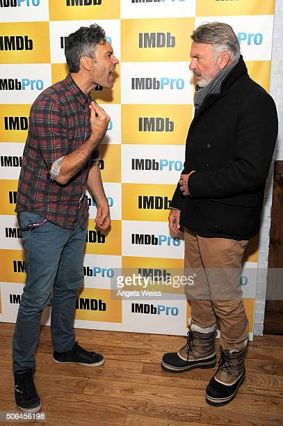 Writer/Director Taika Waititi and actor Sam Neill in The IMDb Studio In Park City Utah Day Two on January 23 2016 in Park City Utah