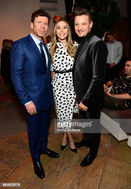 Writer/director Taylor Sheridan actors Elizabeth Olsen and Jeremy Renner attend a cocktail party for 'Wind River' at Circa 55 Restaurant on December...