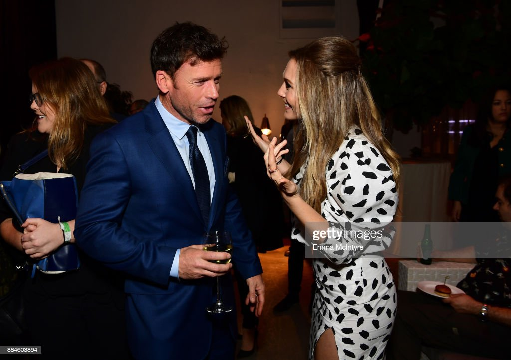 Writer/director Taylor Sheridan and actor Elizabeth Olsen attend a cocktail party for 'Wind River' at Circa 55 Restaurant on December 2, 2017 in Los Angeles, California.