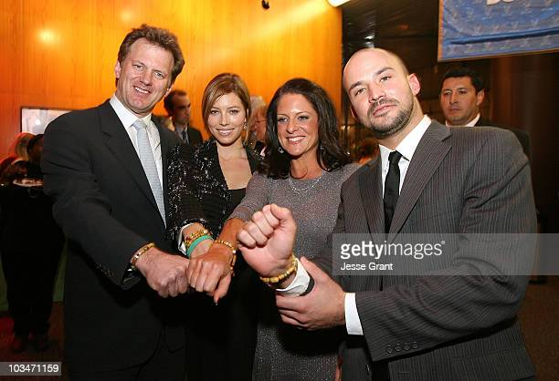 Writer/director Ted Braun actress Jessica Biel producer Cathy Schulman and activist Adam Sterling at the 'Darfur Now' Los Angeles screening after...