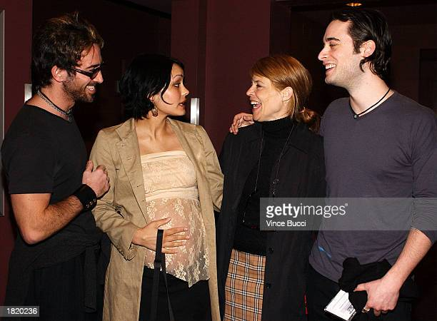 Writer/director Todd Heyman actress Shannyn Sossamon actress Linda Hamilton and actor Stephan Paternot attend the screening of the short film Wholey...