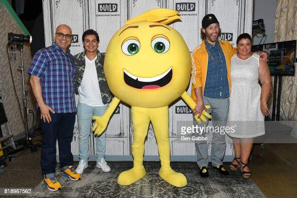 Writer/director Tony Leondis Jake T Austin Gene the Emoji TJ Miller and producer Michelle Raimo Kouyate attend the Build Series to discuss the new...