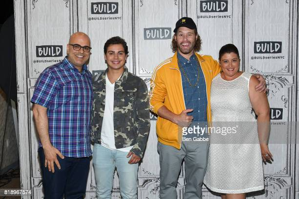 Writer/director Tony Leondis Jake T Austin TJ Miller and producer Michelle Raimo Kouyate attend the Build Series to discuss the new movie 'The Emoji...