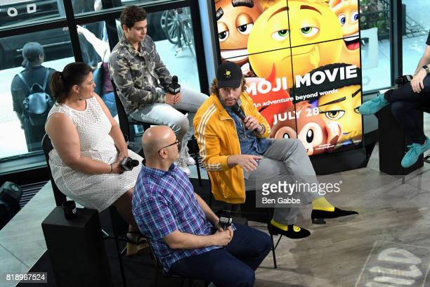 Writer/director Tony Leondis producer Michelle Raimo Kouyate TJ Miller and Jake T Austin attend the Build Series to discuss the new movie The Emoji...