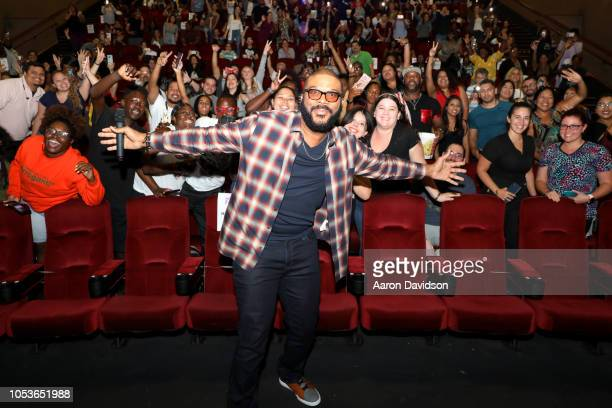 Writer/Director Tyler Perry poses with a fan at a special screening of 'Nobody's Fool' at AMC Sunset Place on October 25 2018 in Miami Florida