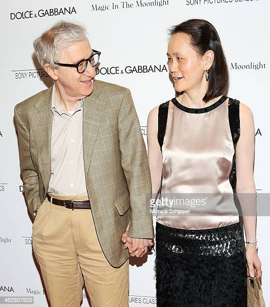 """Writer/director Woody Allen and Soon-Yi Previn attends """"Magic In The Moonlight"""" premiere at Paris Theater on July 17, 2014 in New York City."""