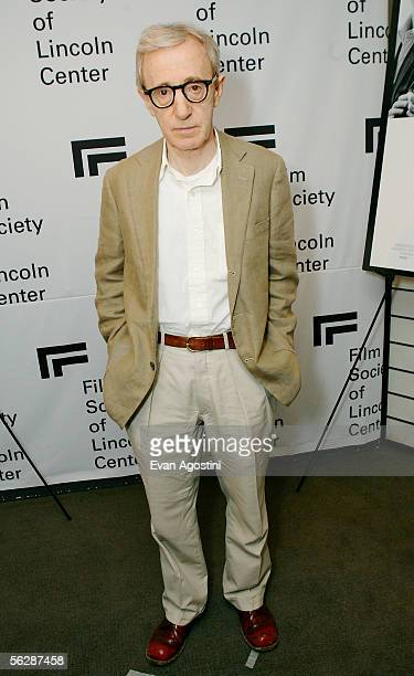 Writer/director Woody Allen poses backstage before participating in An Evening With Woody Allen and a special screening of his new film Match Point...