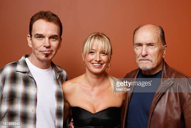 Writer/director/actor Billy Bob Thornton actress Katherine LaNasa and actor Robert Duvall of 'Jayne Mansfield's Car' pose at the Guess Portrait...