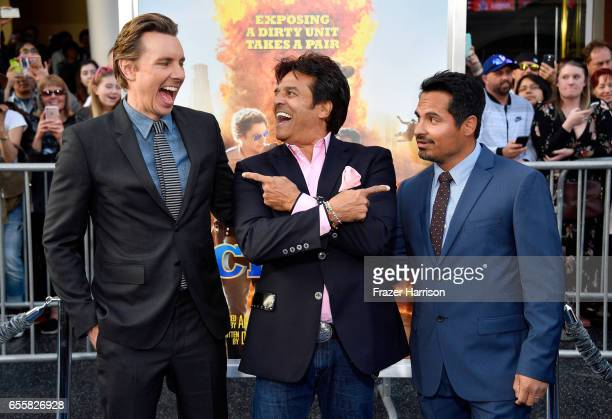 Writer/Director/Actor Dax Shepard and actors Erik Estrada and Michael Pena at the premiere of Warner Bros Pictures' CHiPS at TCL Chinese Theatre on...