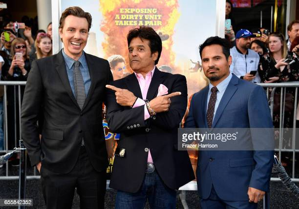 Writer/Director/Actor Dax Shepard and actors Erik Estrada and Michael Pena arrives at the Premiere Of Warner Bros Pictures' CHiPS at TCL Chinese...