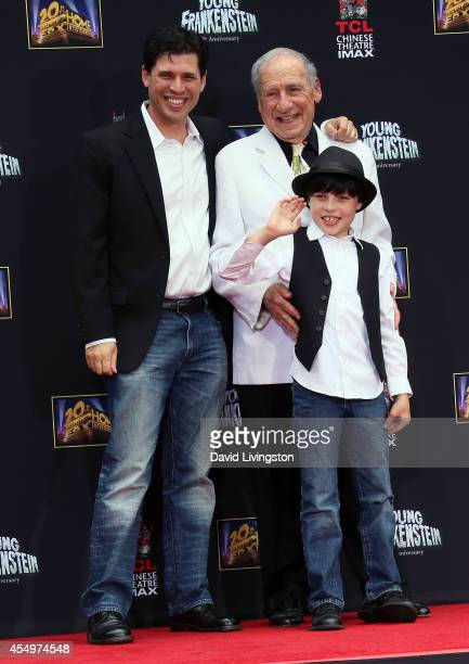 Writer/director/actor Mel Brooks and son writer Max Brooks and grandson Henry Michael Brooks attend the Mel Brooks hand and footprint ceremony at the...