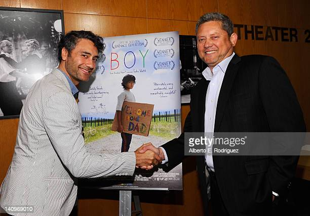 Writer/director/actor Taika Waititi and New Zealand Consul General Los Angles John Mataira attend a special advance screening of Boy at DGA Theater...