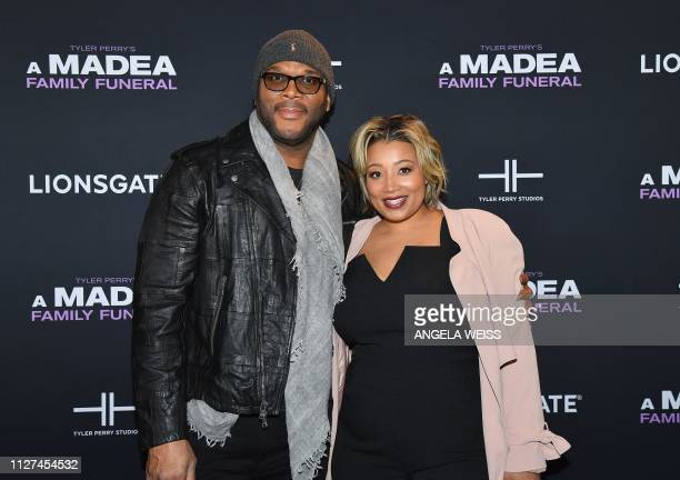 Writer/director/actor Tyler Perry and guest attend the NY special screening for Tyler Perry's 'A Madea Family Funeral' at SVA Theater on February 25...
