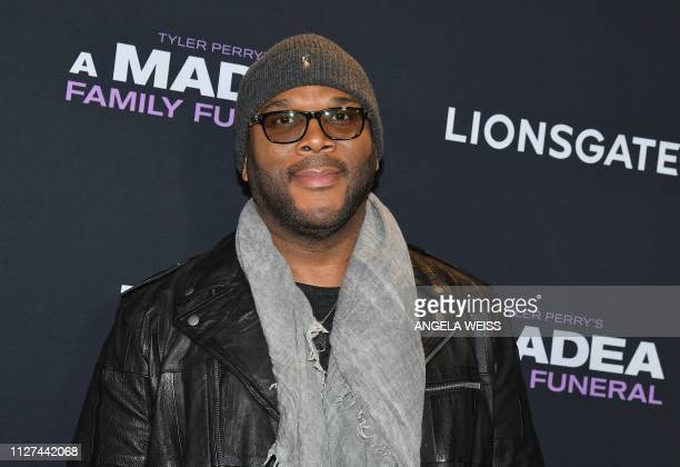 Writer/director/actor Tyler Perry attends the NY special screening for Tyler Perry's 'A Madea Family Funeral' at SVA Theater on February 25 2019 in...