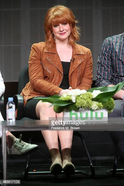 Writer/director/actress Julie Klausner speaks onstage during the 'Difficult People' panel discussion at the Hulu portion of the 2015 Summer TCA Tour...