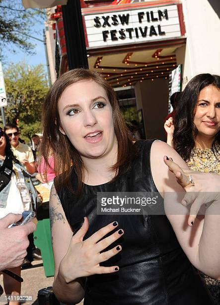 "Writer/Director/Actress Lena Dunham arrives to the screening of ""Girls"" during the 2012 SXSW Music, Film + Interactive Festival at Paramount Theatre..."