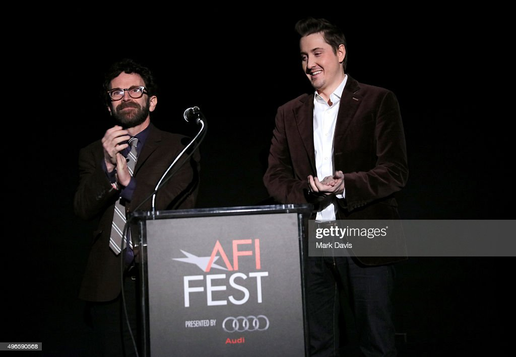 Writer/director/producer Charlie Kaufman (L) and director/producer Duke Johnson speak onstage at the screening and Q&A for the Paramount Pictures film 'Anomalisa' at the Egyptian Theater on November 10, 2015 in Hollywood, California.
