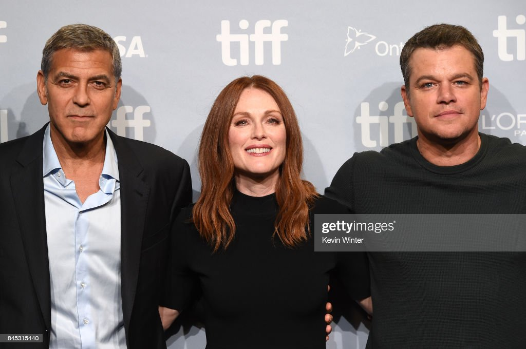 Writer/director/producer George Clooney, actors Julianne Moore and Matt Damon attend the 'Suburbicon' press conference during the 2017 Toronto International Film Festival at TIFF Bell Lightbox on September 10, 2017 in Toronto, Canada.
