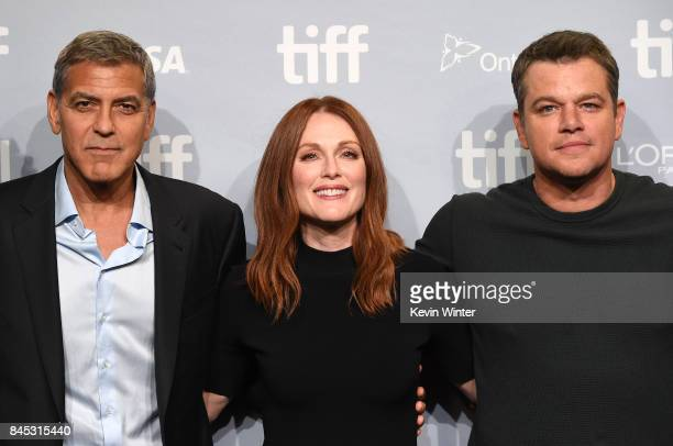Writer/director/producer George Clooney actors Julianne Moore and Matt Damon attend the 'Suburbicon' press conference during the 2017 Toronto...