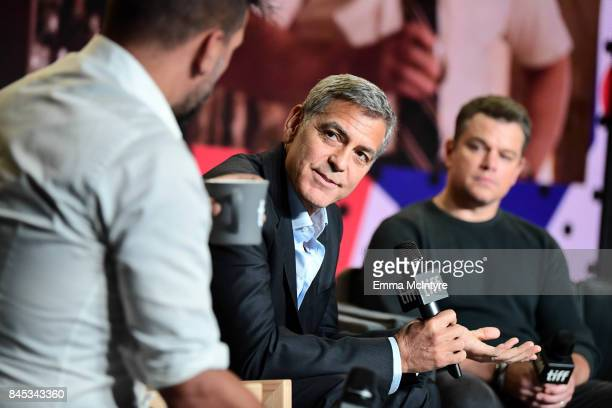 Writer/director/producer George Clooney and actor Matt Damon at the 'Suburbicon' press conference during the 2017 Toronto International Film Festival...
