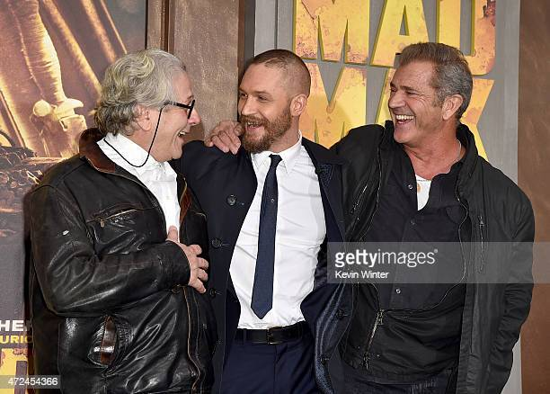 "Writer/Director/Producer George Miller, actors Tom Hardy and Mel Gibson attend the premiere of Warner Bros. Pictures' ""Mad Max: Fury Road"" at TCL..."
