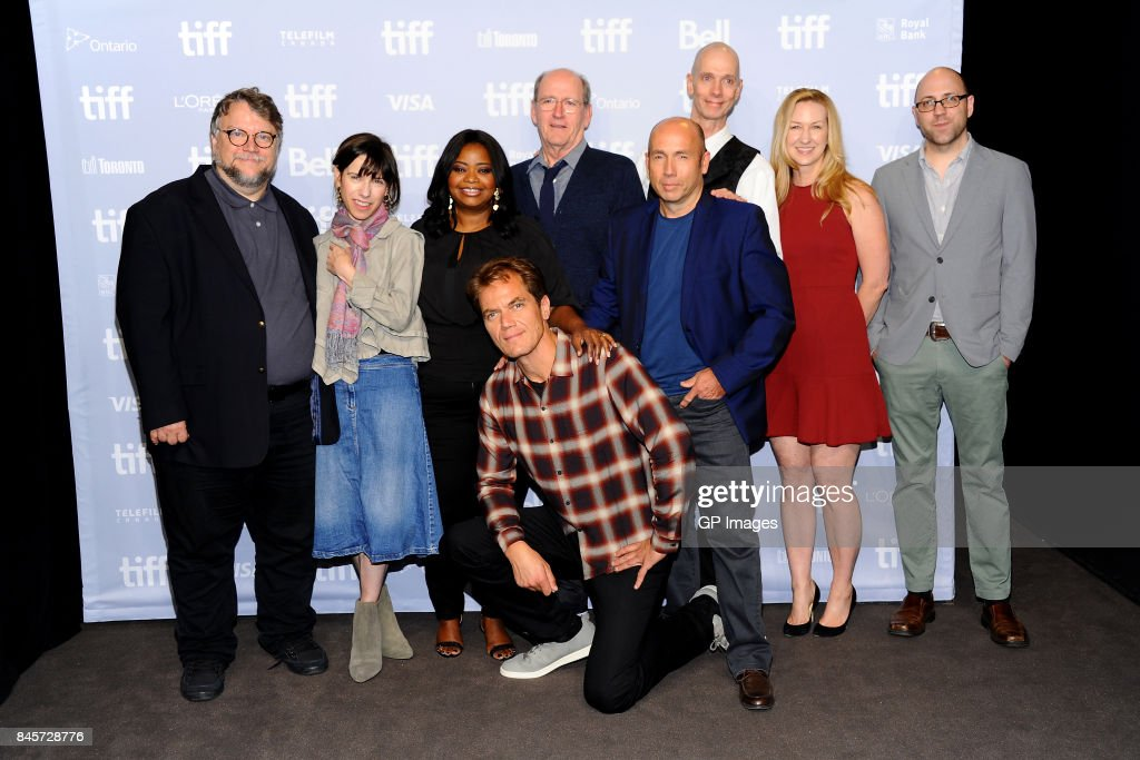 Writer/director/producer Guillermo del Toro, actors Octavia Spencer, Michael Shannon, Richard Jenkins, producer J. Miles Dale, actor Doug Jones, screenwriter Vanessa Taylor and associate producer Daniel Kraus attend 'The Shape of Water' press conference during 2017 Toronto International Film Festival at TIFF Bell Lightbox on September 11, 2017 in Toronto, Canada.