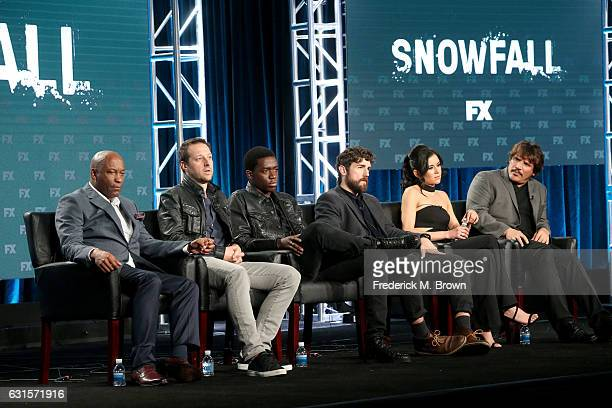 Writer/director/producer John Singleton writer/producer Dave Andron and actors Damson Idris Carter Hudson Emily Rios and Sergio PerisMencheta of the...