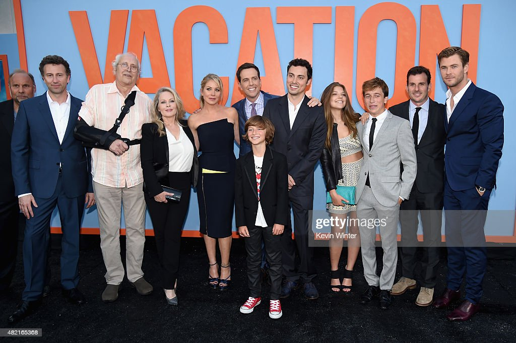 Writer/director/producer Jonathan Goldstein, actors Chevy Chase, Beverly D'Angelo, Christina Applegate, Ed Helms, Steele Stebbins, writer/director/producer John Francis Daley, actors Catherine Missal, Skyler Gisondo, producer Chris Bender and Chris Hemsworth attend the premiere of Warner Bros. Pictures 'Vacation' at Regency Village Theatre on July 27, 2015 in Westwood, California.