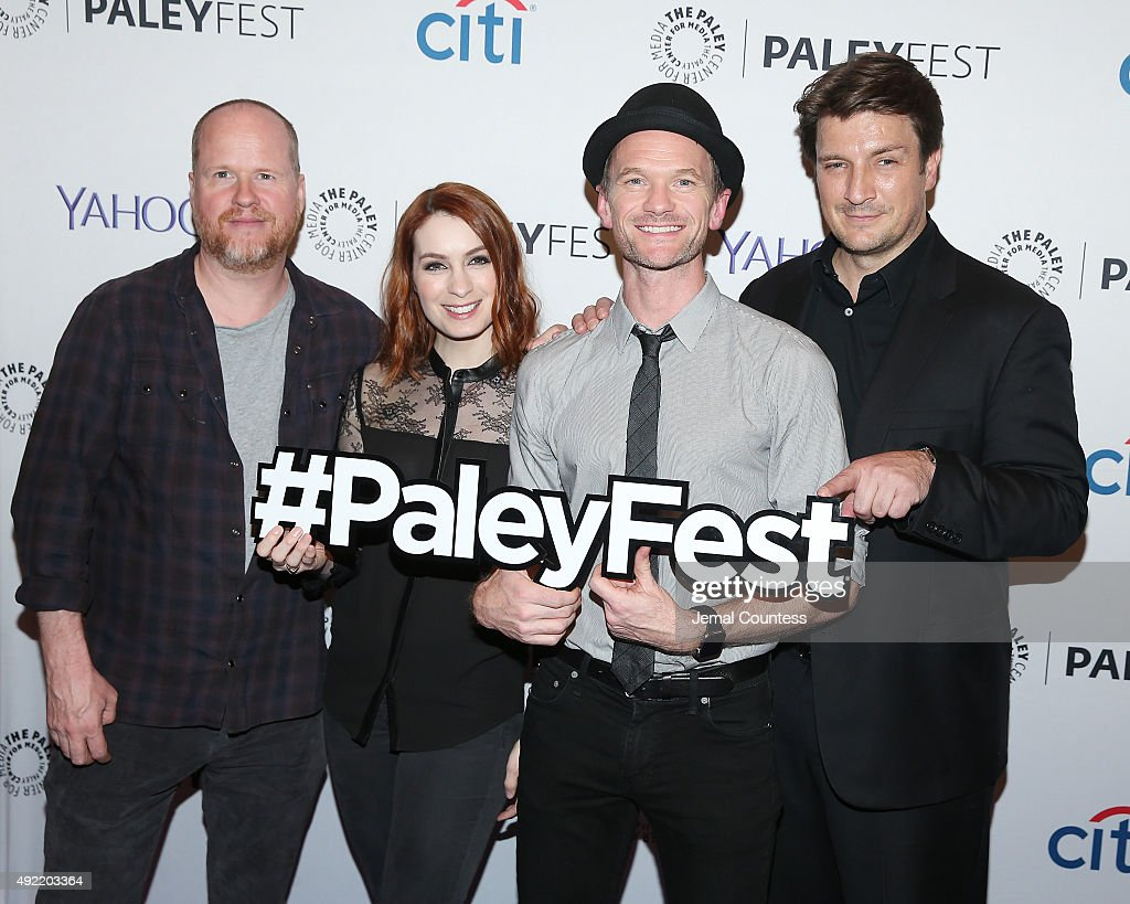 Writer/director/producer Joss Whedon, actress Felicia Day, actor Neil Patrick Harris and actor Nathan Fillion attend the 'Dr. Horrible's Sing-Along Blog Reunion' during the PaleyFest New York 2015 at The Paley Center for Media on October 10, 2015 in New York City.