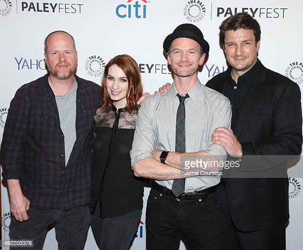 Writer/director/producer Joss Whedon actress Felicia Day actor Neil Patrick Harris and actor Nathan Fillion attend the Dr Horrible's SingAlong Blog...