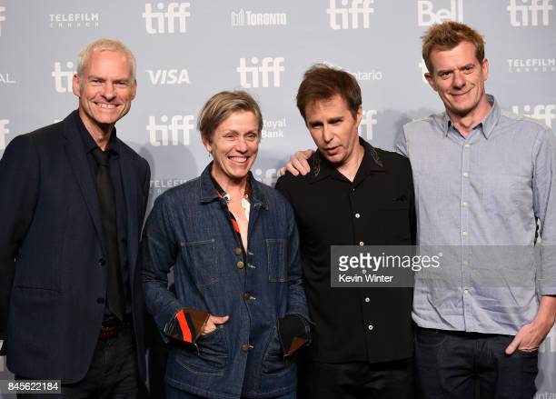 Writer/director/producer Martin McDonagh actors Frances McDormand and Sam Rockwell attend Three Billboards Outside Of Ebbing Missouri press...