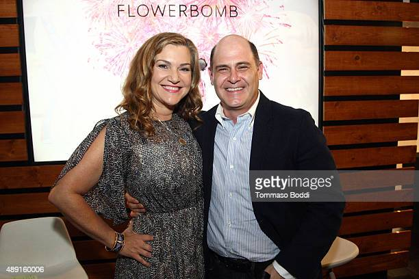 Writer/Director/Producer Matthew Weiner poses onstage with Vanity Fair's West Coast Editor Krista Smith during Vanity Fair Social Club's In...