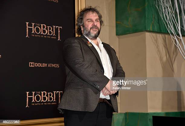 "Writer/director/producer Peter Jackson attends the premiere of New Line Cinema, MGM Pictures and Warner Bros. Pictures' ""The Hobbit: The Battle of..."
