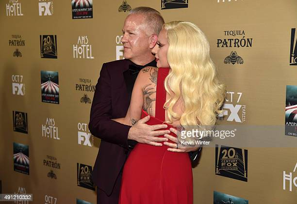 """Writer/director/producer Ryan Murphy and actress/singer Lady Gaga attend the premiere screening of FX's """"American Horror Story: Hotel"""" at Regal..."""