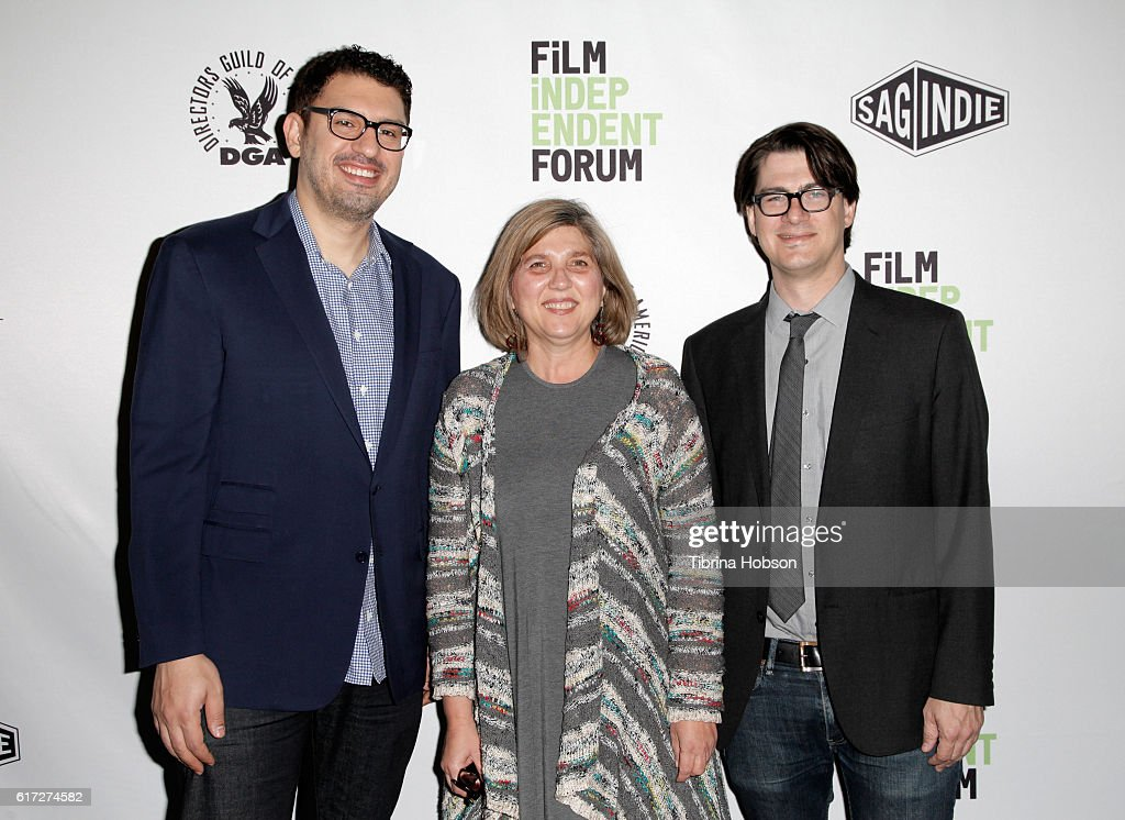 Writer/director/producer Sam Esmail, Film Independent's Maria Raquel Bozzi and moderator Mark Olsen of the LA Times attend the Saturday Keynote: Sam Esmail portion of the Film Independent Forum at the DGA Theater on October 22, 2016 in Los Angeles, California.