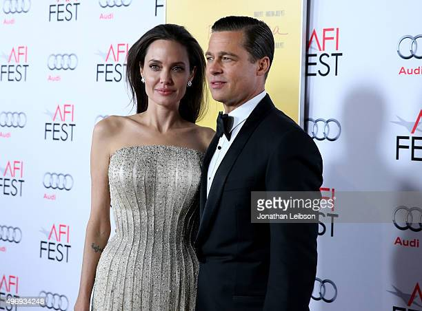 Writerdirectorproduceractress Angelina Jolie Pitt and actorproducer Brad Pitt attend Audi at the opening night gala premiere of 'By the Sea' during...