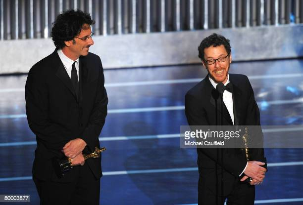Writerdirectorproducers Joel Coen and Ethan Coen onstage during the 80th Annual Academy Awards at the Kodak Theatre on February 24 2008 in Los...