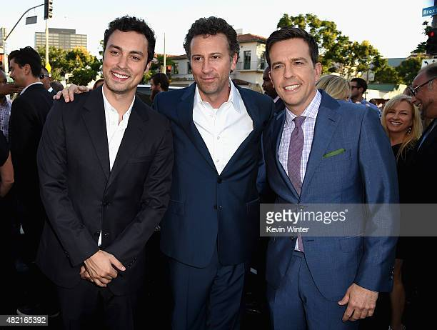 Writer/director/producers John Francis Daley Jonathan Goldstein and actor Ed Helms attend the premiere of Warner Bros Pictures Vacation at Regency...
