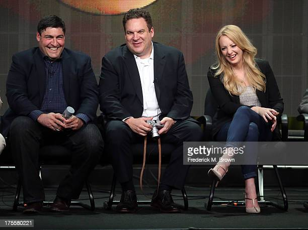Writer/executive producer Adam F Goldberg actors Jeff Garlin and Wendi McLendonCovey speak onstage during the 'The Goldbergs' panel discussion at the...