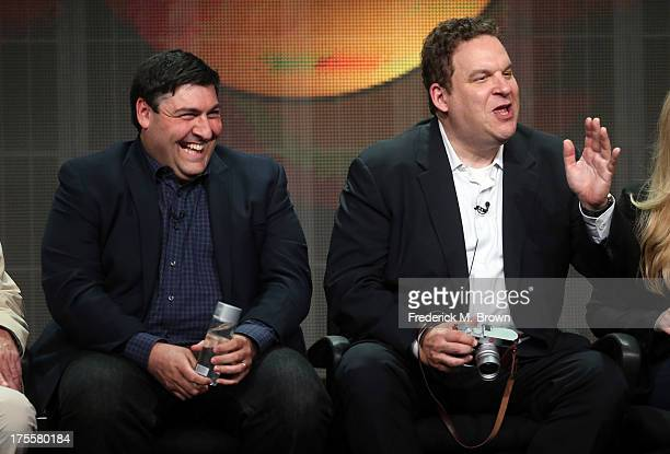 Writer/executive producer Adam F Goldberg and actor Jeff Garlin speak onstage during the The Goldbergs panel discussion at the Disney/ABC Television...