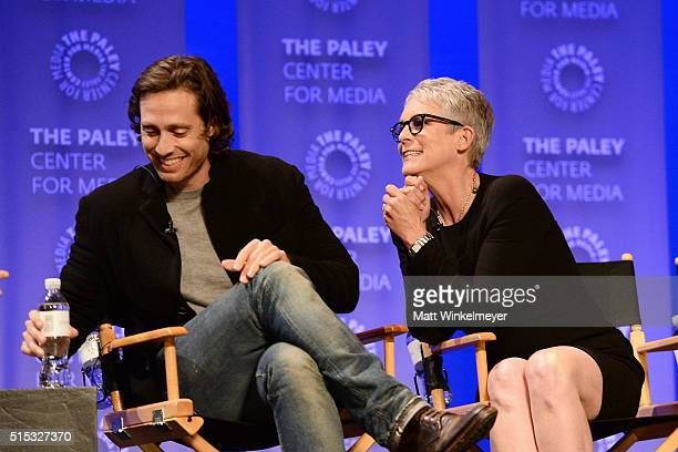 Writer/Executive Producer Brad Falchuk and actress Jamie Lee Curtis attend The Paley Center For Media's 33rd Annual PALEYFEST Los Angeles ÒScream...