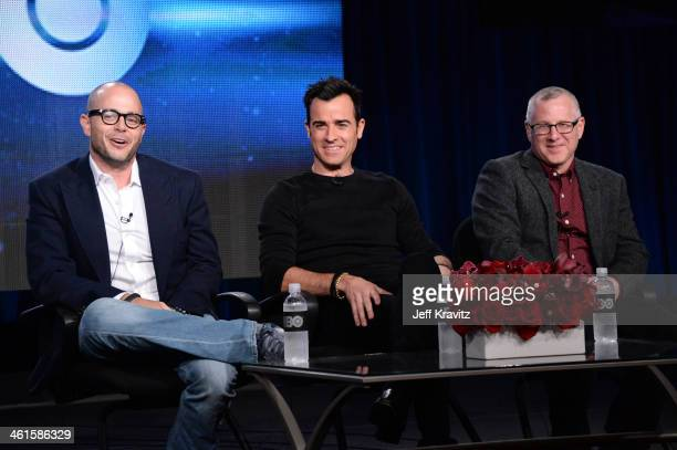Writer/executive producer Damon Lindelof actor Justin Theroux and writer/executive producer Tom Perrotta speak at the 'The Leftovers' panel during...