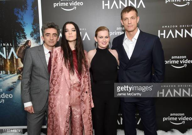 Writer/executive producer David Farr Mireille Enos Esme CreedMiles and Joel Kinnaman attend the Hanna New York Premiere at the Whitby Hotel on March...